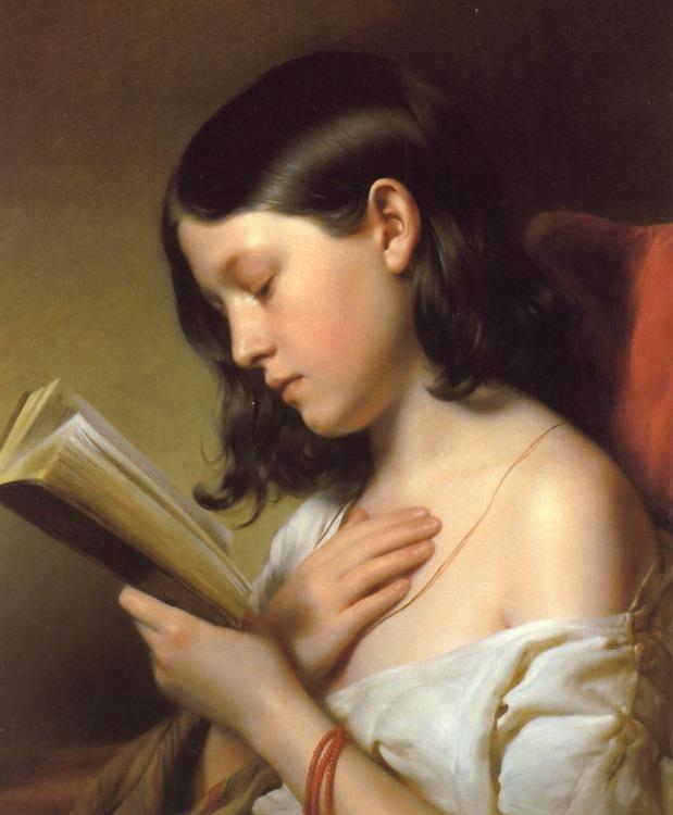 fanciulla che legge dipinto
