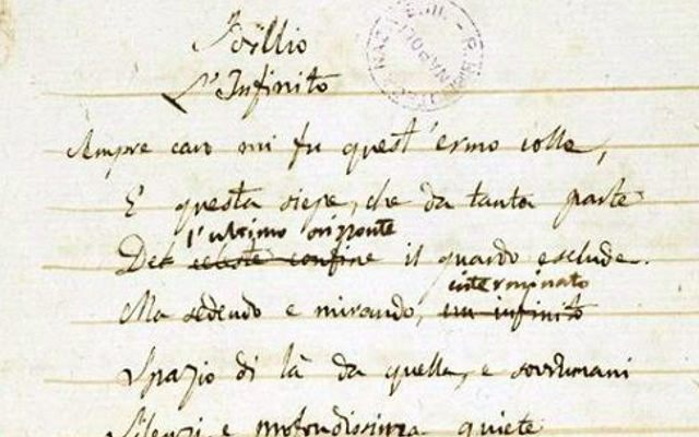 'L'Infinito' di Leopardi e la 'Scienza nuova' di Vico, esposti alla Biblioteca Nazionale di Napoli